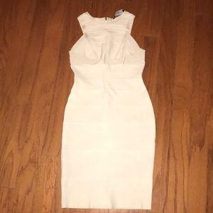 White Halter Bandage Dress